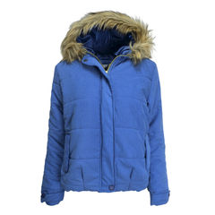 PADDED,JACKET,Fur Collar Hooded Pure Color Short Coat, FUR COLLAR WOMEN JACKET,FUR COLLAR PADDED JACKET,FUR COLLAR BLUE PADDED JACKET