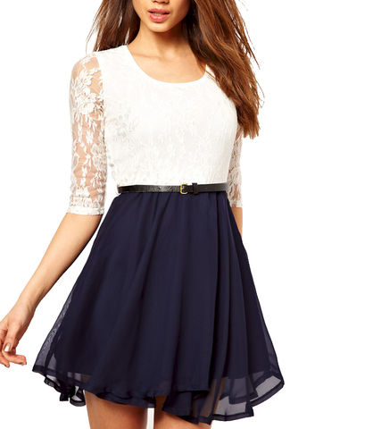 TWO,TONE,LACE,DRESS,WITH,BELT,LACE DRESS, TWO TONE LACE DRESS, LACE DRESS WITH BELT, WHITE LACE DRESS, WHITE AND BLUE LACE DRESS