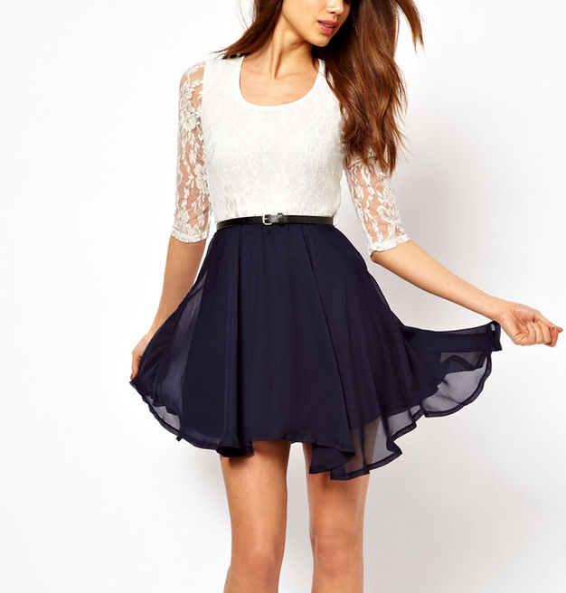 TWO TONE LACE DRESS WITH BELT - product image