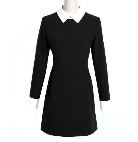 CONTRAST,COLLAR,DRESS,CONTRAST DRESS, WHITE COLLAR DRESS, Victoria Beckham DRESS,Slim Elegant With Long Sleeves DRESS