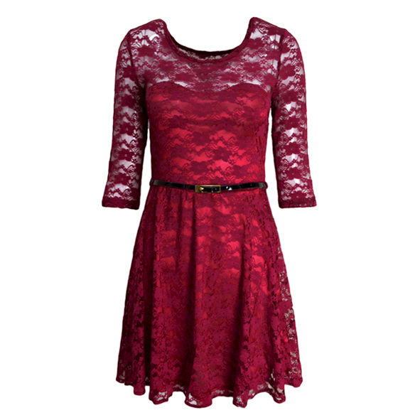 LACE DRESS WITH BELT - product image