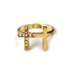 DOUBLE,CROSS,RING,CRYSTAL CROSS RING, CRYSTAL DOUBLE CROSS RING, CRYSTALS CROSS RING, GOLD CROSS RING