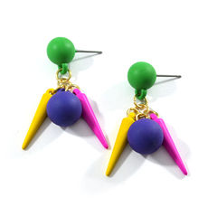 BALL,AND,SPIKES,EARRING,BALL EARRINGS, SPIKE EARRINGS, BALL DANGLING EARRINGS, DANGLING SPIKE EARRINGS