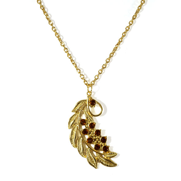LEAF WITH CRYSTALS NECKLACE - product image