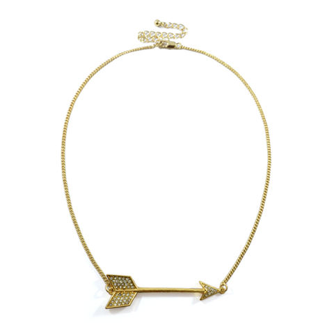 ARROW,WITH,CRYSTALS,NECKLACE,ARROW NECKLACE, ARROW PENDANT NECKLACE, GOLD ARROW NECKLACE, CRYSTAL ARROW PENDANT NECKLACE