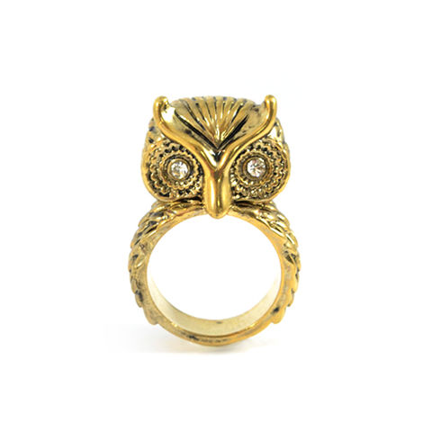OWL,RING,GOLD OWL RING, 3D OWL RING, CRYSTAL OWL RING, GOLD CRYSTAL OWL RING