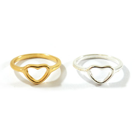 HEART,RING,HEART SHAPE RING, MINIMAL HEART RING, GOLD HOLLOW HEART RING, SILVER HOLLOW HEART RING