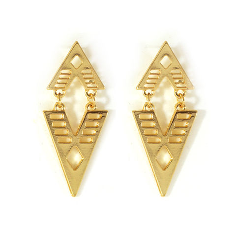 DOUBLE,TRIANGLE,EARRINGS,TRIANGLE EARRINGS, HOLLOW PATTERN RHOMBUS EARRINGS, RHOMBUS EARRINGS, PATTERN RHOMBUS EARRINGS