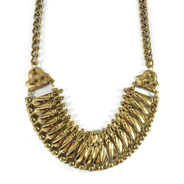 BEADED TEXTURE BIB NECKLACE - product image