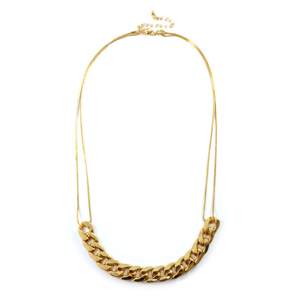 GOLD CHAIN LINK BIB NECKLACE - product image