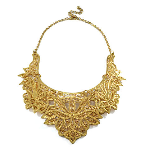 FILIGREE,BIB,NECKLACE,FILIGREE NECKLACE, FILIGREE COLLAR NECKLACE, VINTAGE STYLE FILIGREE BIB NECKLACE, GOLD  FILIGREE COLLAR NECKLACE