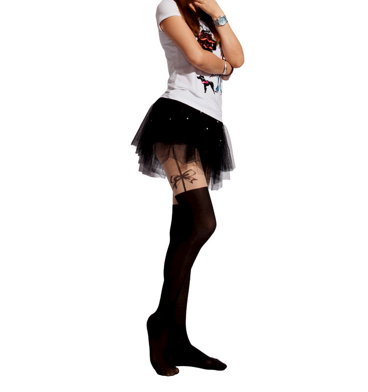 SIDE BOW SUSPENDER TIGHTS - product image