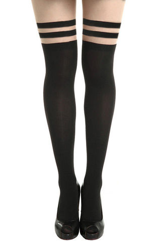 SHEER,STRIPE,OVER,THE,KNEE,TIGHTS,MINIMAL STRIPE TIGHTS, STRIPE LEGGINGS, TRIPLE STRIPE TIGHTS,BLACK MINIMAL STRIPES TIGHTS