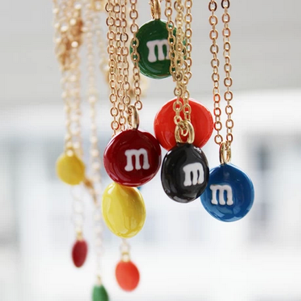 M,&,MS,CHOCOLATE,NECKLACE,M&M'S NECKLACE, M AND M NECKLACE, CHOCOLATE NECKLACE