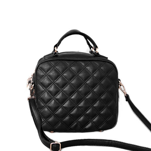 QUILTED,SQUARE,SHOULDER,BAG,LEATHER QUILTED SHOULDER BAG, BLACK QUILTED SHOULDER BAG, LEATHER LOOK QUILTED SHOULDER BAG
