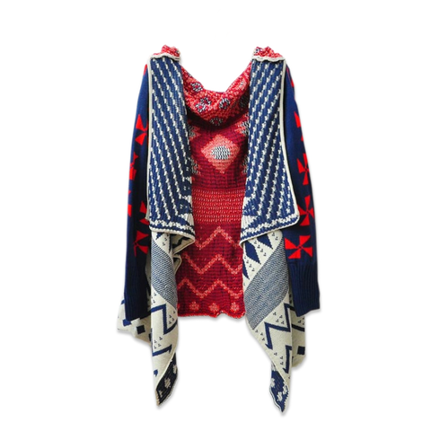 PATTERN,KNIT,CARDIGAN,AZTEC PATTERN KNIT CARDIGAN, MULTI COLOR PATTERN CARDIGAN, AZTEC PATTERN DESIGN CARDIGAN