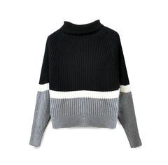 HIGH,NECK,KNITTED,JUMPER,BLOCK COLOUR HIGH NECK KNITTED JUMPER, MINIMAL HIGH NECK KNITTED JUMPER, HIGH NECK RAGLAN SLEEVE KNITTED JUMPER, Black, Grey and White HIGH NECK RAGLAN SLEEVE KNITTED JUMPER