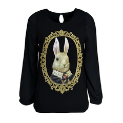 RABBIT,CHIFFON,SHIRT,ANIMAL CHIFFON SHIRT, SUEDE RABBIT CHIFFON SHIRT, RABBIT PRINT TOP, RABBIT PRINT SHIRT, SUEDE RABBIT SHIRT