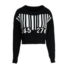 BARCODE,KNITTED,JUMPER,BARCODE JUMPER, BLACK AND WHITE BARCODE KNITTED JUMPER, BLACK AND WHITE KNITTED JUMPER, LUCKY NUMBER JUMPER