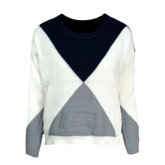 BLOCK,COLOUR,KNITTED,JUMPER,GEO PATTERN JUMPER, TRIANGLE KNITTED JUMPER, COLOR TRIANGLE JUMPER, REFLECT TRIANGLE JUMPER