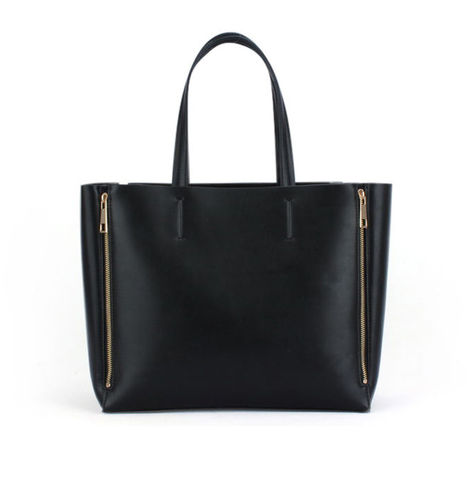 DOUBLE,ZIP,TOTE,BAG,ZIP DECOR BAG, DOUBLE ZIP TOTE BAG, LEATHER  TOTE BAG, DOUBLE ZIP LEATHER TOTE BAG, BLACK LEATHER DOUBLE ZIP TOTE BAG