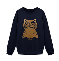 OWL,JUMPER,OWL PRINTED JUMPER, BAT SLEEVE OWL JUMPER, RAGLAN SLEEVE OWL JUMPER,round collar owl pattern bat sleeve JUMPER