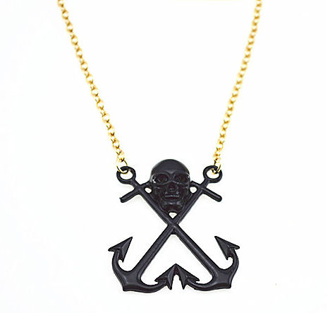 SKULL,AND,ANCHOR,LONG,CHAIN,NECKLACE,skull nautical necklace, anchor skull necklace