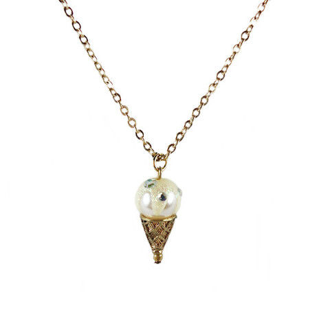 GOLD,TONE,ICE-CREAM,CONE,WITH,CRYSTAL,NECKLACE