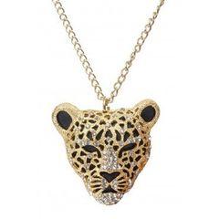 OURO, TONE, leopardo, cara, com, CRISTAIS, COLAR