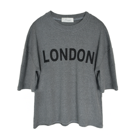 LONDON,MID,SLEEVE,TEE,LONDON TEE, LONDON PRINT TEE, LONDON PRINT GARMENT, GREY LONDON PRINT TEE