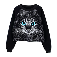 CAT,CROPPED,JUMPER,CAT PRINT JUMPER, BLUE-EYED CAT JUMPER, CAT PRINT DESIGN JUMPER, CAT PRINT CROPPED JUMPER, BLUE-EYED CAT CROPPED JUMPER