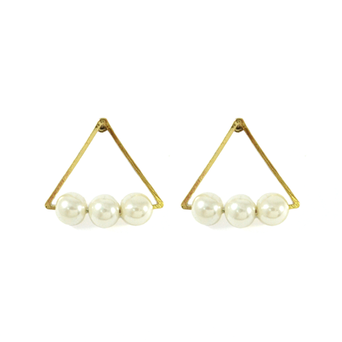TRIANGLE,WITH,PEARL,EARRINGS,TRIANGLE EARRINGS, GODL TRIANGLE EARRINGS, PEARL EARRINGS, SINGLE PEARL EARRINGS, TRIANGULAR EARRINGS WITH PEARL, TRIPLE PEARLS EARRINGS