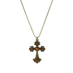 CROSS,WITH,CRYSTAL,NECKLACE,CROSS NECKLACE, VINTAGE CROSS NECKLACE, VINTAGE STYLE NECKLACE, VINTAGE CRYSTAL CROSS NECKLACE