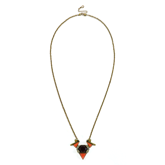 GEO FAUX GEMSTONE BIB NECKLACE - product image