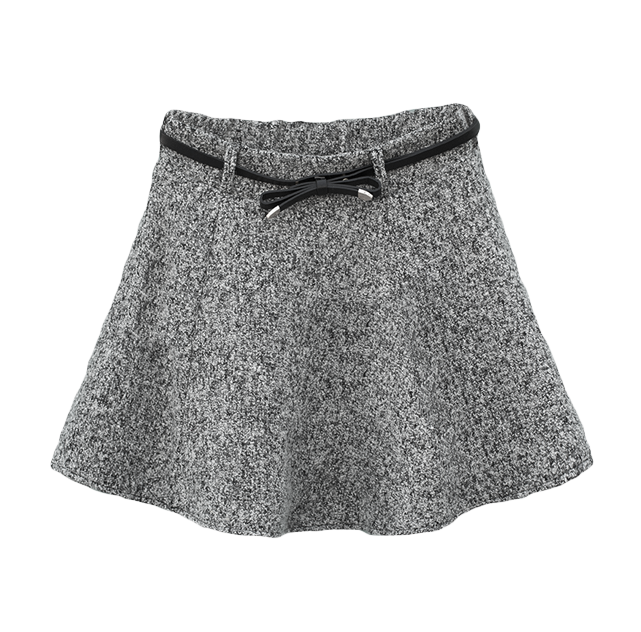 GREY FELT SKIRT WITH BOW BELT - product image