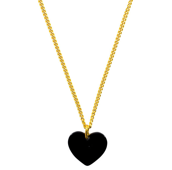 BLACK SHINNY HEART NECKLACE - product image