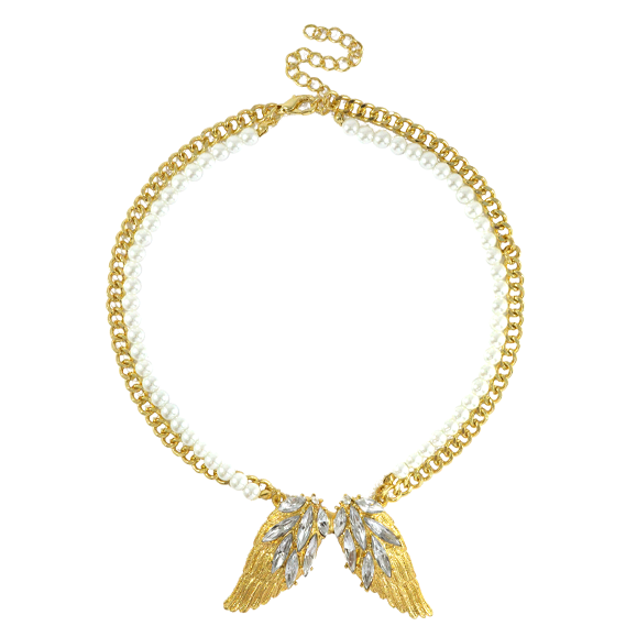 CRYSTAL WING WITH PEARLS NECKLACE - product image