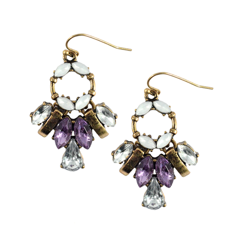 CRYSTALS,DROP,EARRINGS,CRYSTAL EARRINGS, WATERDROP CRYSTAL SHAPE EARRINGS, PURPLE CRYSTAL EARRINGS, VINTAGE STYLE CRYSTAL DROP EARRINGS