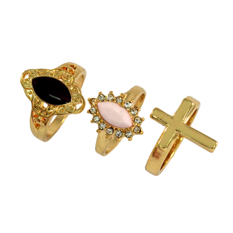 GEMSTONE,AND,CROSS,RINGS,PACK,GEMSTONE RING, PINK STONE RING, PINK GEMSTONE RING, PATTERNED RING, CROSS RING, GOLD CROSS RING, SINGLE CROSS RING