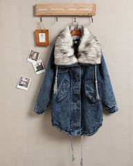 FAUX,FUR,COLLAR,DENIM,JACKET,FUR COLLAR JACKET, FUR COLLAR PARKA, FUR COLLAR DENIM JACKET, RAGLAN SLEEVE DENIM JACKET