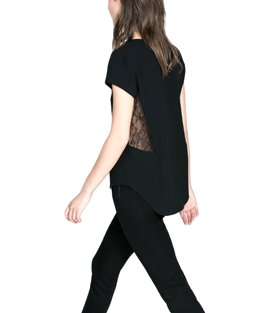 LACE PANEL WAIST TOP - product image