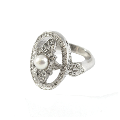 CRYSTAL,OVAL,SHAPE,FLOWER,RING,FLOWER RING, SILVER FLOWER RING, CRYSTAL FLOWER RING