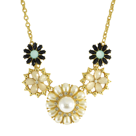 PEARL AND CRYSTAL FLORAL NECKLACE - product image