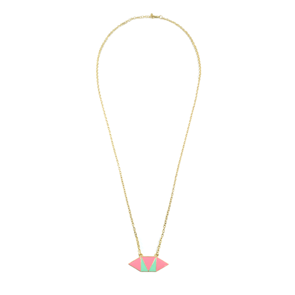 TWO TONE HEXAGON NECKLACE - product image
