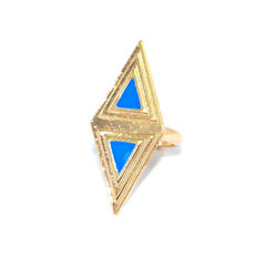 GOLD,TONE,RHOMBUS,WITH,BLUE,TRIANGLE,RING