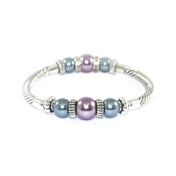PEARL AND CRYSTAL METALLIC BRACELET - product image