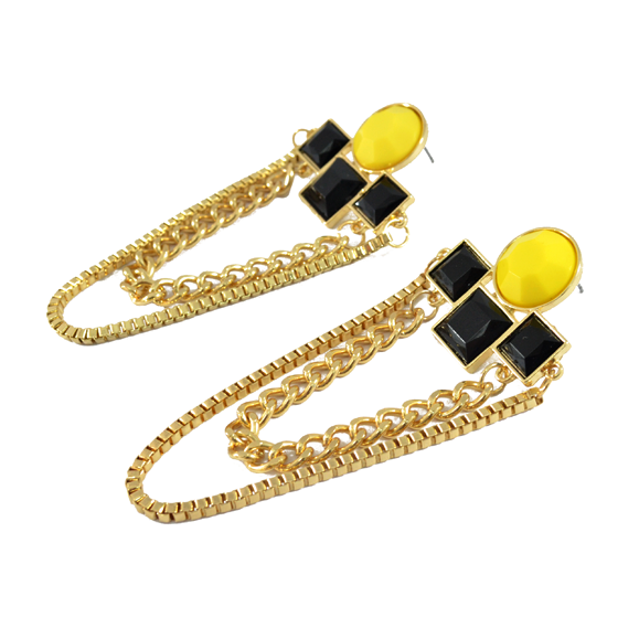 CONTRAST CHARM AND CHAIN EARRINGS - product image