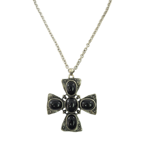 FAUX,GEMSTONE,CROSS,NECKLACE
