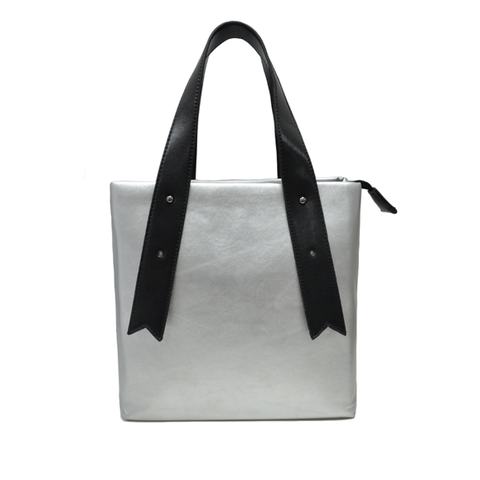 SILVER,LEATHER,SHOPPING,BAG