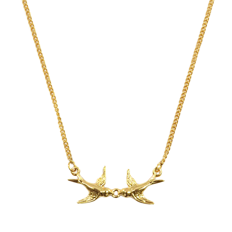 DOUBLE,SWALLOW,NECKLACE,birds necklace, bird necklace, swallow necklace, swallows necklace, gold swallow necklace, swallow bird necklace, gold double swallows necklace, gold bird necklace, gold birds necklace